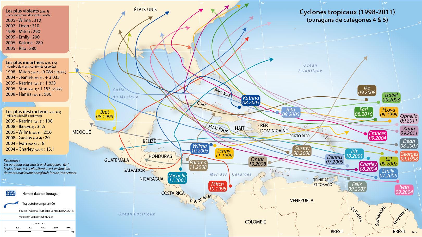 Atlas cara be - Les 5 cyclones ...